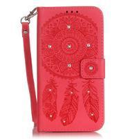 Dream PU kožené pouzdro s kamínky na Huawei P9 Lite - červené