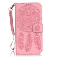 Dream PU kožené pouzdro s kamínky na Huawei P9 Lite - růžové