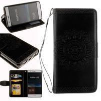 Mandala PU kožené pouzdro na Huawei P9 Lite - černé