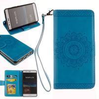 Mandala PU kožené pouzdro na Huawei P9 Lite - modré