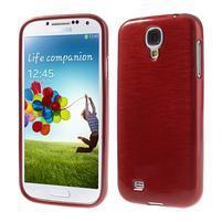 Gelový kryt s broušeným vzorem na Samsung Galaxy S4 - červený