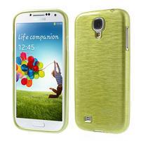 Gelový kryt s broušeným vzorem na Samsung Galaxy S4 - žlutozelený