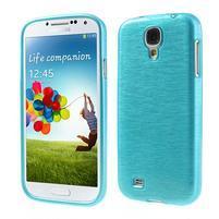 Gelový kryt s broušeným vzorem na Samsung Galaxy S4 - modrý