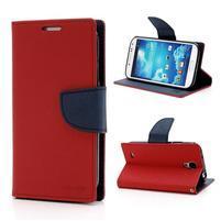 Fancy peněženkové pouzdro na Samsung Galaxy S4 - červené