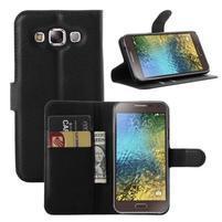PU kožené peněženkové pouzdro na Samsung Galaxy E5 - černé