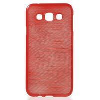 Broušené gelový kryt na Samsung Galaxy E5 - červený