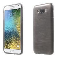 Broušený gelový obal pro Samsung Galaxy E7 - šedý