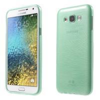 Broušený gelový obal pro Samsung Galaxy E7 - cyan