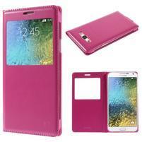 PU kožené pěněženkové pouzdro s okýnkem Samsung Galaxy E5 - rose