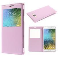 PU kožené pěněženkové pouzdro s okýnkem Samsung Galaxy E5 - růžové