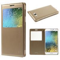 PU kožené pěněženkové pouzdro s okýnkem Samsung Galaxy E5 - zlaté