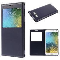 PU kožené pěněženkové pouzdro s okýnkem Samsung Galaxy E5 - tmavě modré