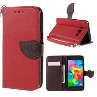 Červené/hnědé zapínací peněženkové pouzdro na Samsung Galaxy Grand Prime