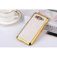 Luxusní kryt se zlatým lemem na Samsung Grand Prime - bílý