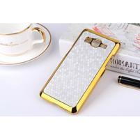 Luxusní kryt se zlatým lemem na Samsung Grand Prime - stříbrný