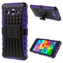 Vysoce odolný kryt se stojánkem na Samsung Galaxy Grand Prime - fialový