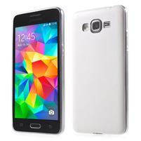 Ultratenký gelový kryt s imitací kůže na Samsung Grand Prime - bílý