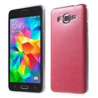 Ultratenký gelový kryt s imitací kůže na Samsung Grand Prime - červený