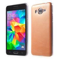 Ultratenký gelový kryt s imitací kůže na Samsung Grand Prime - oranžový