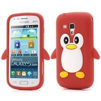 Silikonový obal tučňák na Samsung Galaxy S Duos - červený