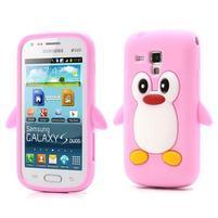 Silikonový obal tučňák na Samsung Galaxy S Duos - růžový