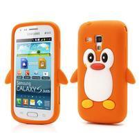 Silikonový obal tučňák na Samsung Galaxy S Duos - oranžový
