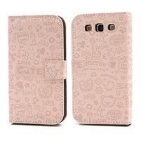 Peněženkové pouzdro na Samsung Galaxy S3 - růžové