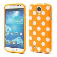 Gelové Oranžový puntíkovaný obal na Samsung  S4 I9500