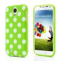 Gelové Zelený puntíkovaný obal na Samsung S4 I9500