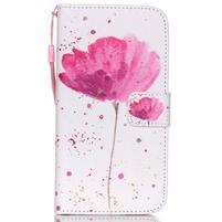 Knížkové PU kožené pouzdro na Samsung Galaxy S5 - makový květ