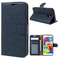 Clothy Pu kožené pouzdro na Samsung Galaxy S5 - tmavěmodré