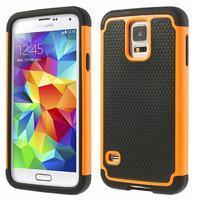 Odolný obal 2v1 na mobil Samsung Galaxy S5 - oranžový