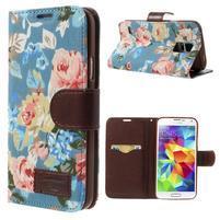 Květinové pouzdro na mobil Samsung Galaxy S5 - modré pozadí