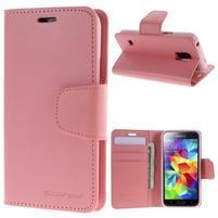 Sonata PU kožené pouzdro na Samsung Galaxy S5 mini - růžové