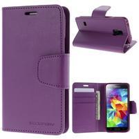 Sonata PU kožené pouzdro na Samsung Galaxy S5 mini - fialové