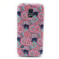 Transparentní gelový obal na mobil Samsung Galaxy S5 mini - květiny a sloni