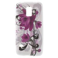 Softy gelový obal na Samsung Galaxy S5 mini - fialové květy