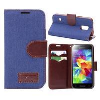 Jeans peněženkové pouzdro na Samsung Galaxy S5 mini - modré