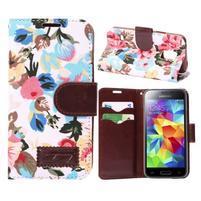 Květinové pouzdro na mobil Samsung Galaxy S5 mini - bílé pozadí