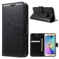 Butterfly PU kožené pouzdro na mobil Samsung Galaxy S6 Edge - černé