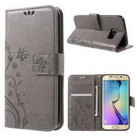 Butterfly PU kožené pouzdro na mobil Samsung Galaxy S6 Edge - šedé