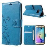 Butterfly PU kožené pouzdro na mobil Samsung Galaxy S6 Edge - modré