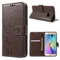 Butterfly PU kožené pouzdro na mobil Samsung Galaxy S6 Edge - coffee