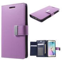 Richdiary PU kožené pouzdro na mobil Samsung Galaxy S6 Edge - fialové