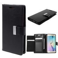 Richdiary PU kožené pouzdro na mobil Samsung Galaxy S6 Edge - černé