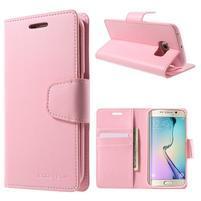 Mercur PU kožené pouzdro na mobil Samsung Galaxy S6 Edge - růžové
