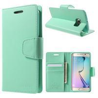 Mercur PU kožené pouzdro na mobil Samsung Galaxy S6 Edge - azurové