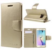 Mercur PU kožené pouzdro na mobil Samsung Galaxy S6 Edge - zlaté