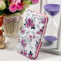 Peněženkové pouzdro na Sony Xperia E4g - květinová koláž