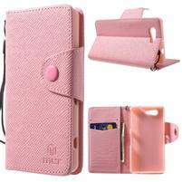 Růžové peněženkové pouzdro na Sony Xperia Z3 Compact
